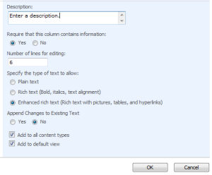 Settings for the Enhanced rich text column