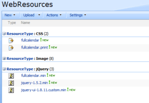 Screenshot of FullCalendar Resources in the WebResources Library