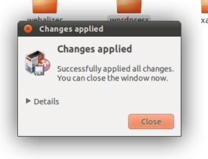 Screenshot of Changes Applied window.