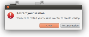 Screenshot of Restart your session prompt.