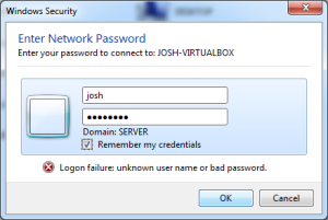 Screenshot of network login request for access to the VM.