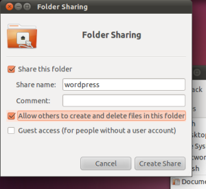 Screenshot of Folder Sharing window to allow access to the wordpress folder over the network.