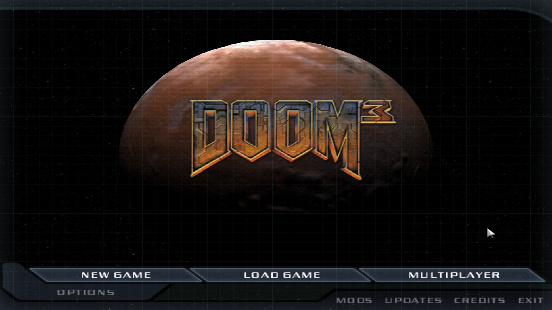 Screenshot of the Doom 3 main menu displaying low-resolution graphics.