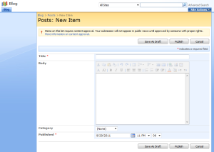 Screenshot of standard SharePoint 2007 list form