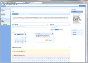 Screenshot of jQuery UI widgest in SharePoint 2007