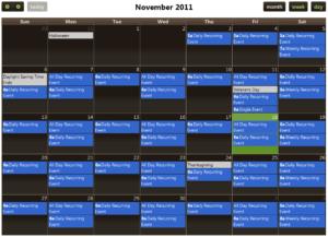 Screenshot of a Fullcalendar demo page.