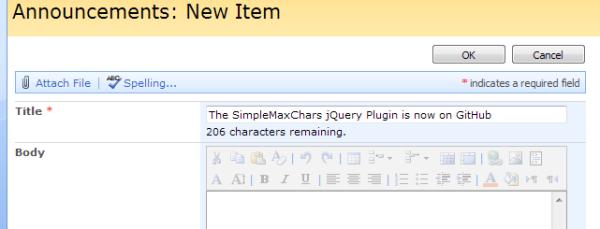 Screenshot of SimpleMaxChars message