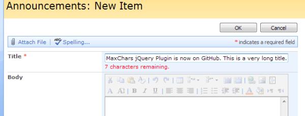 Screenshot of SimpleMaxChars warning message