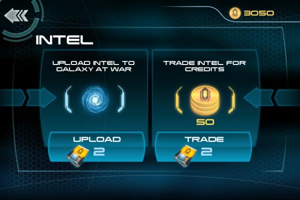 Screenshot of Mass Effect Infiltrator upload intel