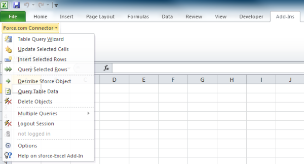 Screenshot of the Excel Connector for Force.com