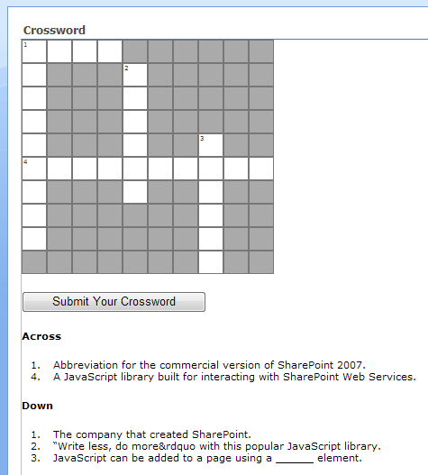 Screenshot of crossword and clues.