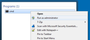 Screenshot of start menu to open command prompt as an administrator