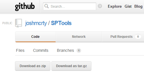 Screenshot of download page for SPTools on GitHub