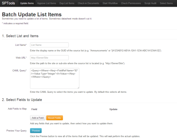 Screenshot of the SPTools Update Items page