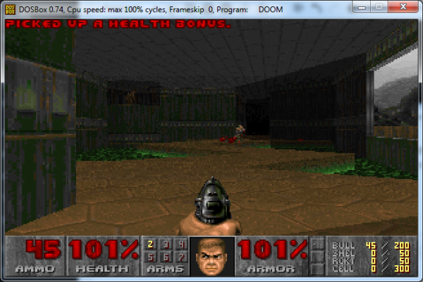 Screenshot of DOOM gameplay.