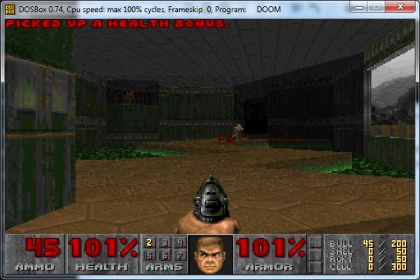 Screenshot of DOOM gameplay.