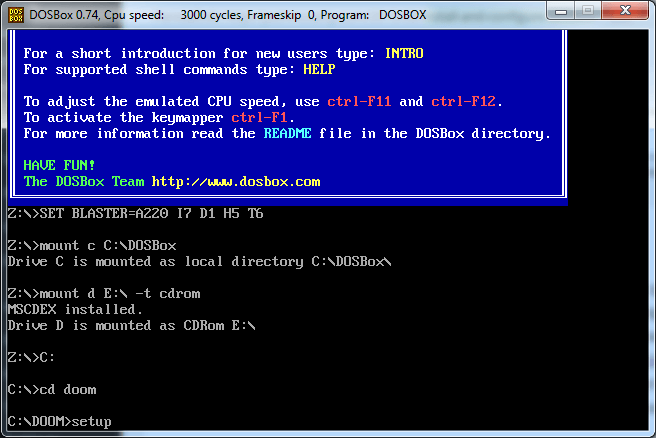 Screenshot of DOSBox commands to run Doom setup.