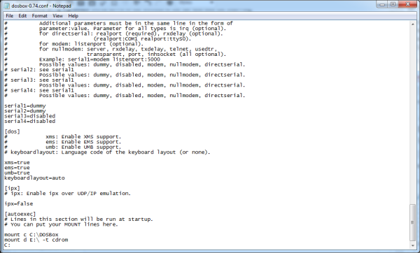 Screenshot of dosbox.conf edits using Notepad.