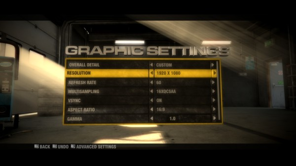 Screenshot of the graphics settings screen in GRID with 1920x1080 resolution selected.