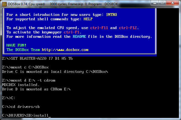Screenshot of commands to run the Sound Blaster installation.