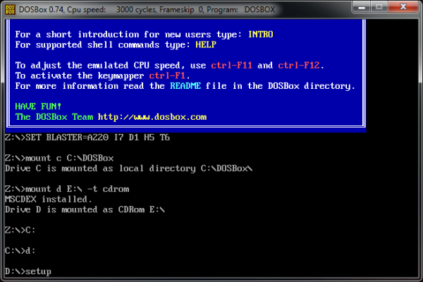 Screenshot of command to run Windows setup in DOSBox.