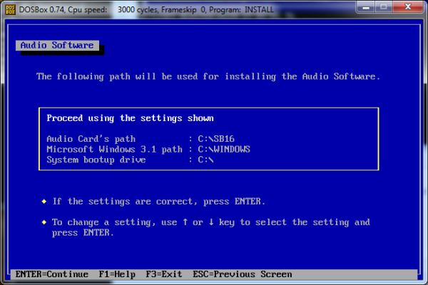 Screenshot of installation with Windows 3.1 path set to C:\WINDOWS.