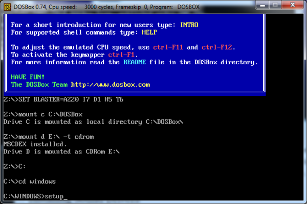 Screenshot of commands to run Windows setup.