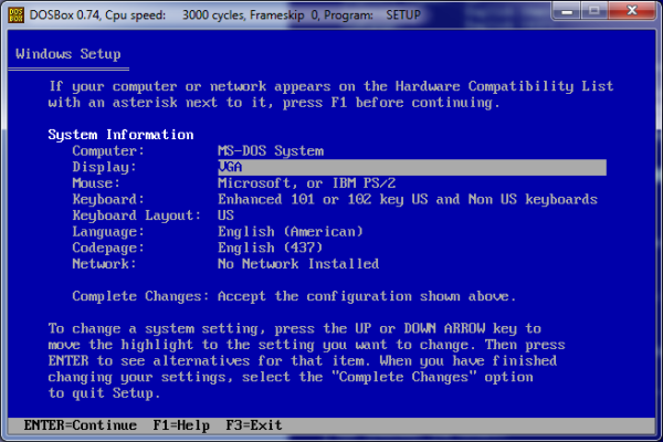 Screenshot of Windows Setup Display setting.
