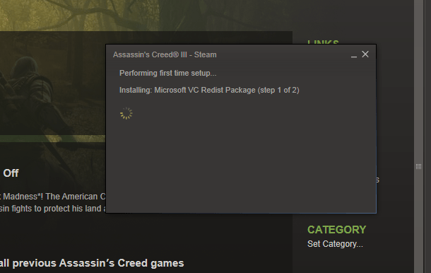 Screenshot of Steam installing VC Redist