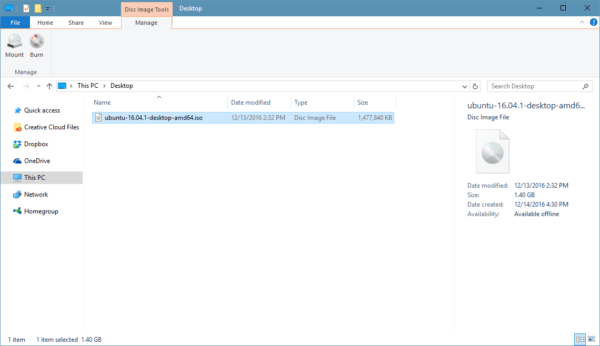screenshot of .iso file with built-in burn/mount options in Windows Explorer