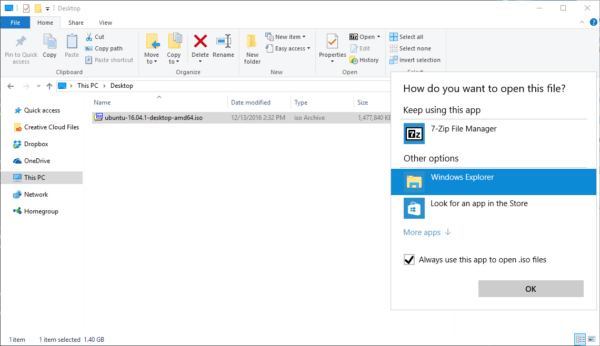 how to unzip iso file in windows 10