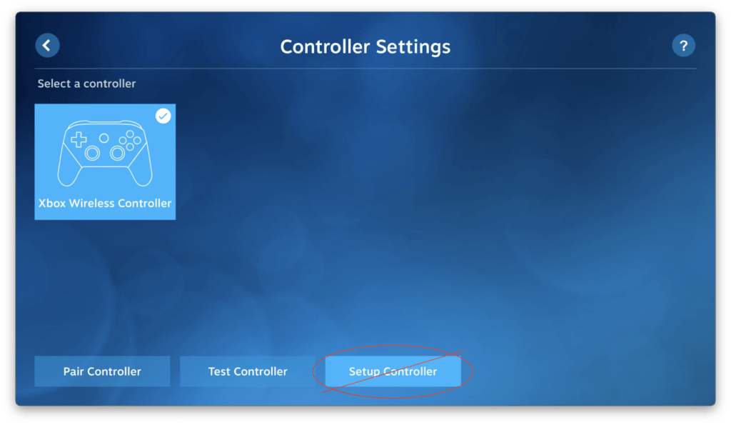 Controller Settings screen for Steam Link on tvOS. Do not enter the Setup Controller screen from here!